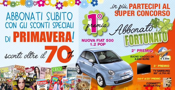 "<span class=""title""style=""font-size: 18px; line-height: 17px;"">A Primavera l'Abbonamento ti premia!</span>  <br>  <span class=""reg""style=""font-size: 14px; line-height: 17px;"">Vinci una Fiat 500 POP!</span>"